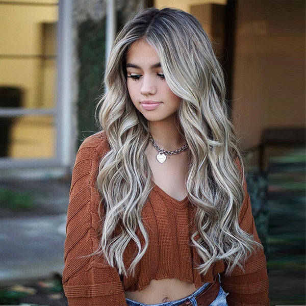 Fashion Women's Long Capless Wavy Synthetic Hair Wigs 24 Inches