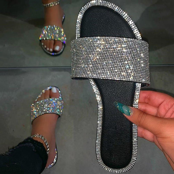 Slip-On Rhinestone Flat With Flip Flop Summer Slippers