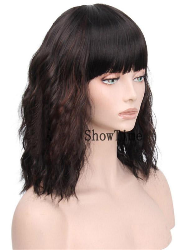 Synthetic Hair Water Wave Full Lace Cap 14 Inches Wigs