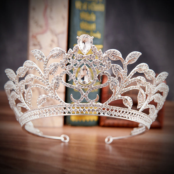 Europe Leaves Diamond Luxury Baroque Hair Accessories Bridal Crown