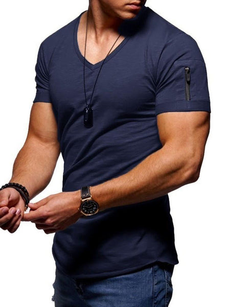 Casual Plain Zipper Short Sleeve Slim T-shirt