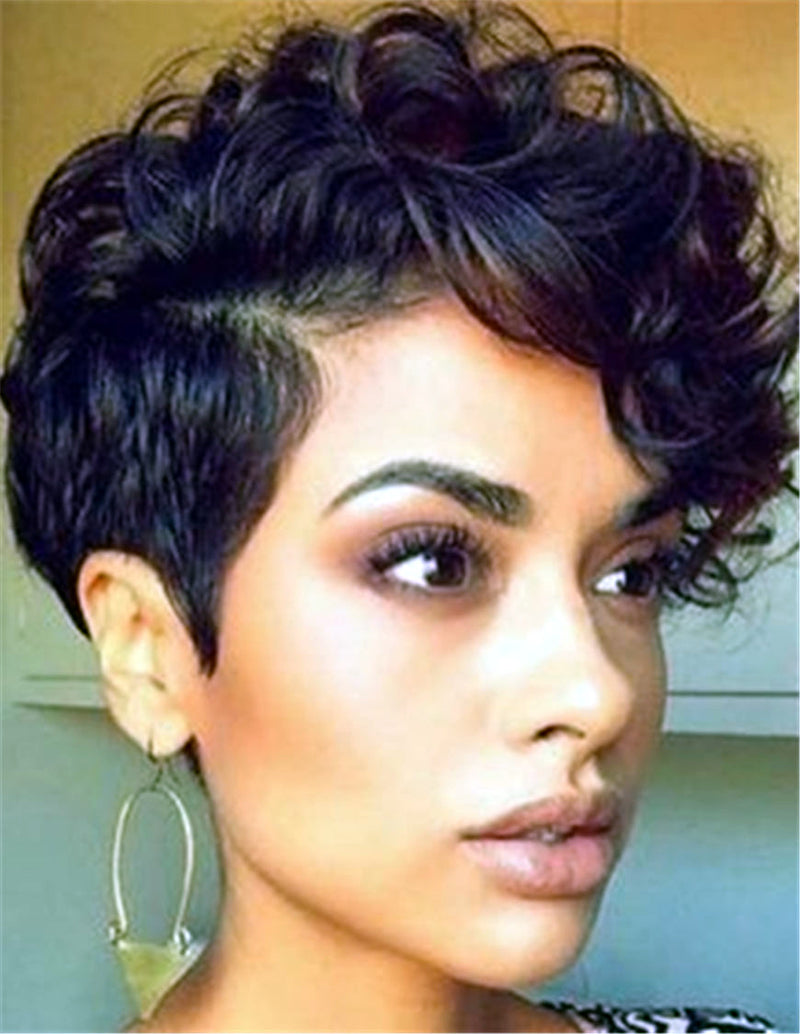 African American Synthetic Hair Lace Front Women Short Curly Wigs