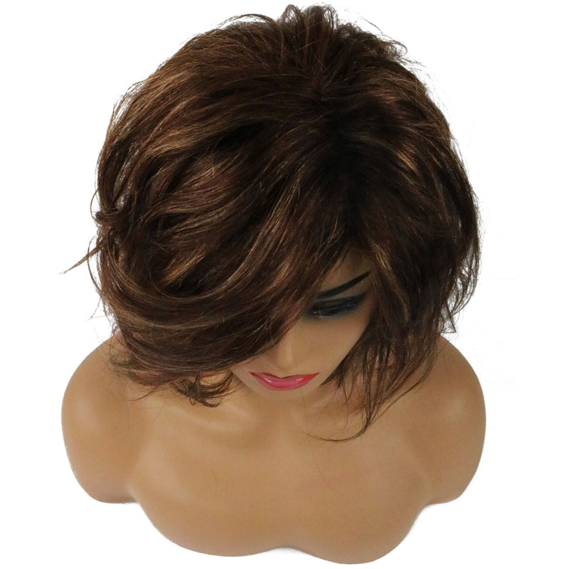 Loose Wave Side Swept Human Hair Women Capless Wigs 10 Inches