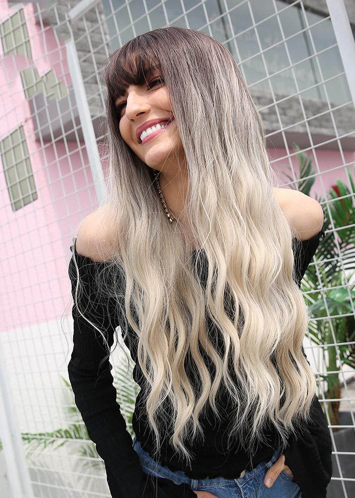 Synthetic Hair Wavy Capless Women 26 Inches Wigs