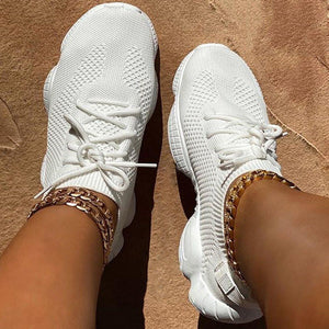 Round Toe Lace-Up Low-Cut Upper Plain Sneakers