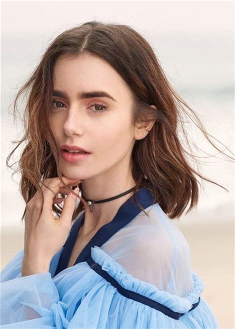 Lily Collins Hairstyle Long Bob Synthetic Hair Wavy Women Lace Front Cap 16 Inches Wigs