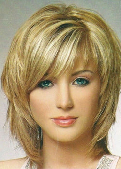 Medium Length Straight Layered Wigs Capless Synthetic Hair 12 Inches Wigs
