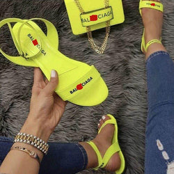 Open Toe Flat With Line-Style Buckle Casual Letter Sandals
