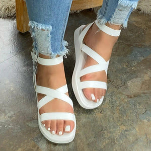 Flat With Open Toe Buckle Platform Plain Sandals