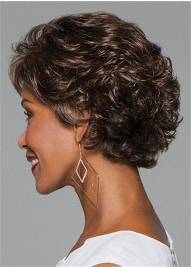 Pixie Choppy Cut Women Capless Synthetic Hair Short Wavy Wigs 10 Inches