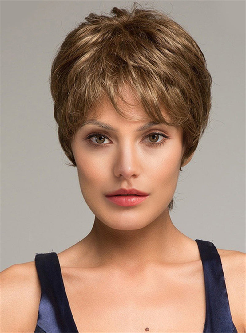 Pixie with Barely Waved Layers Short Straight Synthetic Capless Wigs