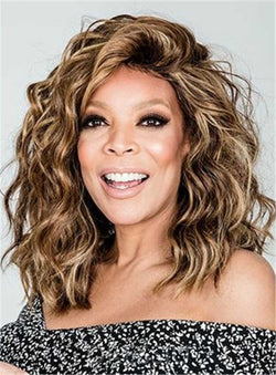 Wendy Williams Medium Loose Curly Human Hair Lace Front Cap 14 Inches Wigs