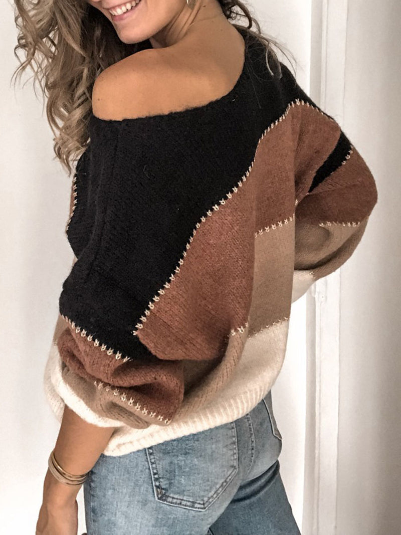 Patchwork Thin Standard Loose Sweater