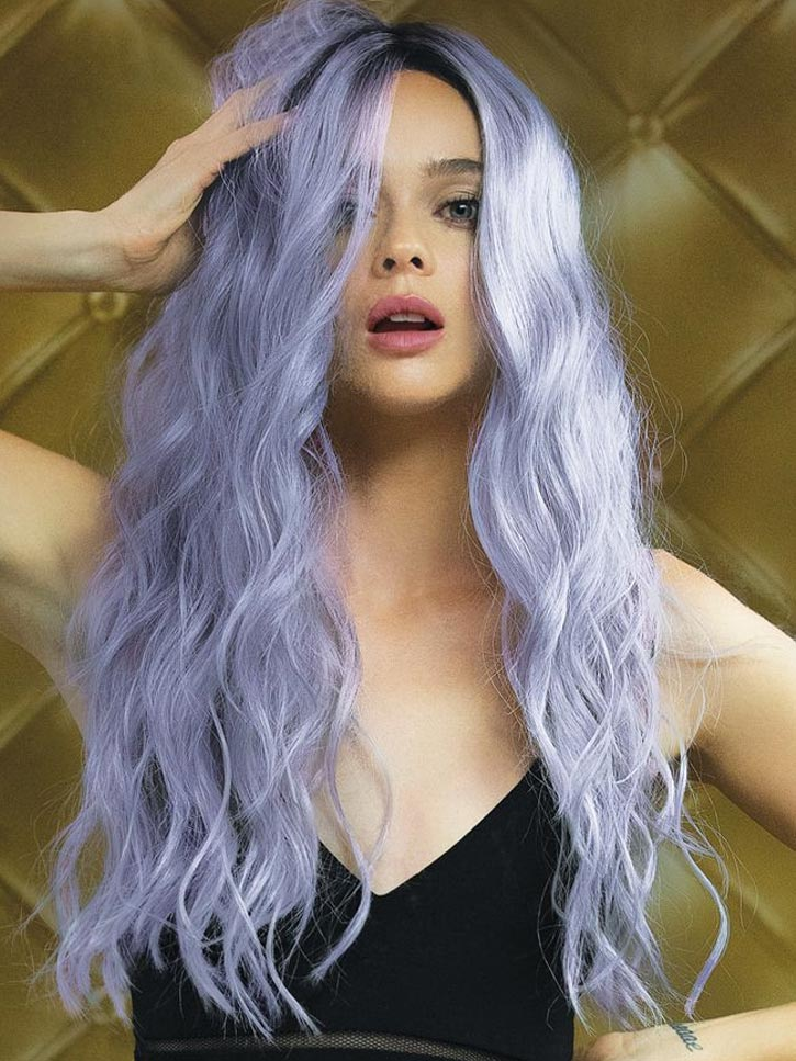 Fashion Purple Long Women Synthetic Hair Wigs 26 Inches