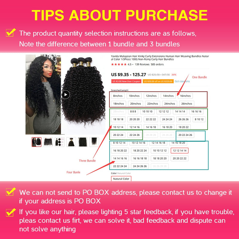 Malaysian Hair Kinky Curly Extensions Human Hair Weaving Bundles Natural Color 1/3/4pc 100g Non-Remy Curly Hair Bundles