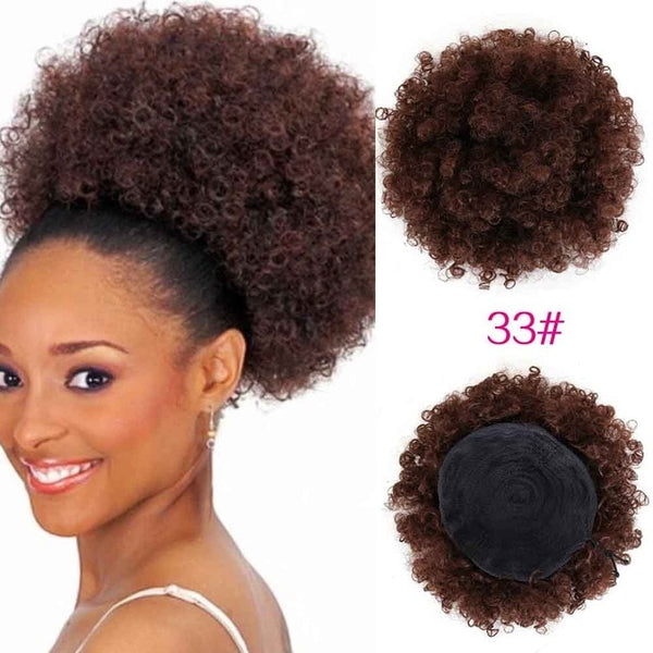 Synthetic Curly Hair Ponytail African American Short Afro Kinky Curly Wrap Synthetic Drawstring Puff Pony tail Hair Extensions