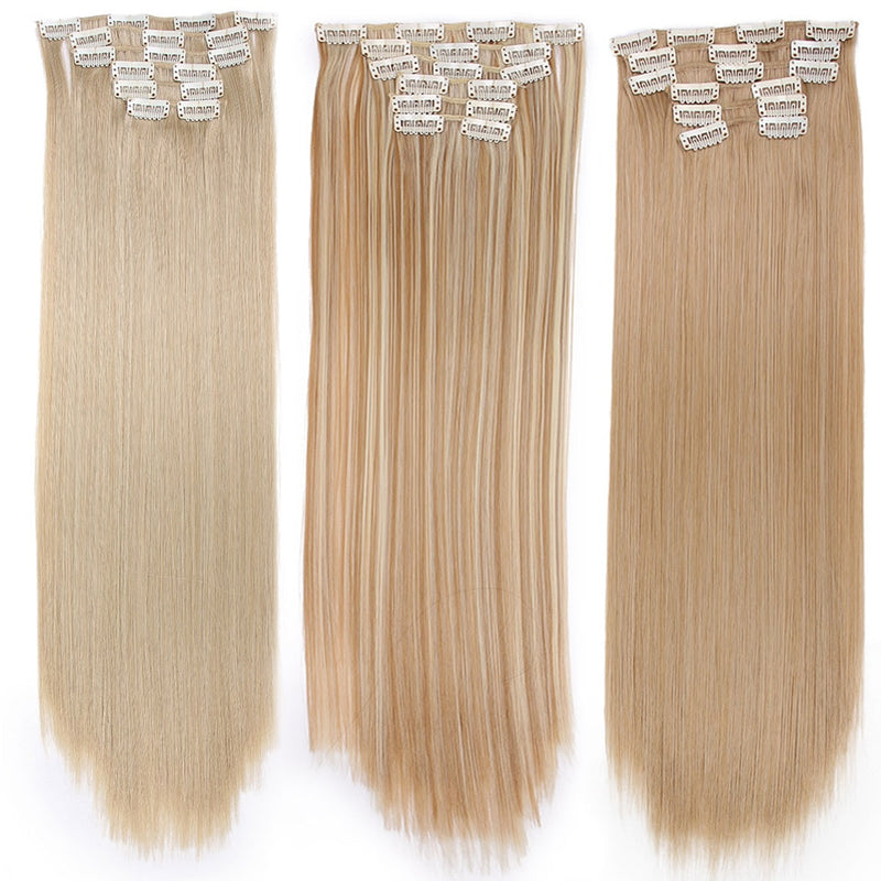 "Long Blond hair Synthetic Clips in Hair Extensions Straight 22"" 140g 16 Clips False Hair pieces  Brow Black White Color"