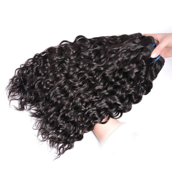 Indian Water Wave Hair Bundles  Indian Hair Bundles Human Hair Weave Bundles 1B/Natural Color Non-Remy Hair Extension