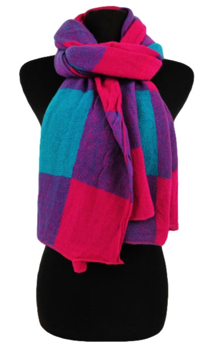 Soft Block Checkered Long Scarf