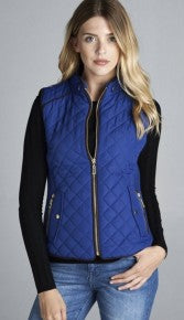 QUILTED PADDING VEST WITH SUEDE PIPING DETAILS *Final Sale*
