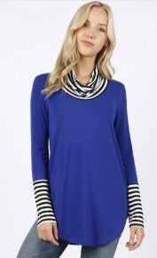 Cowl Neck Tunic Long Sleeve Contrast Knit Top *Final Sale*
