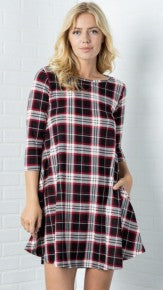 Plaid Long Sleeves Flare Dress