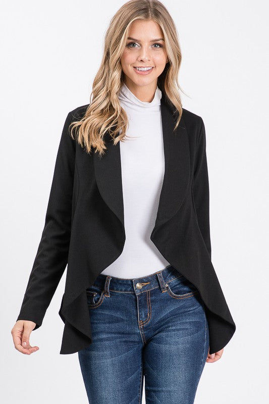 Long Sleeve Crepe Flare Blazer with Shawl Collar *FINAL SALE*