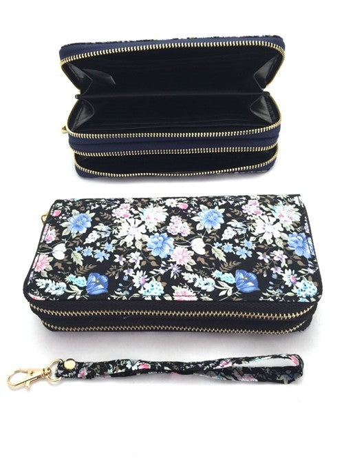 Floral Printed Double Zippered Wallet *FINAL SALE*