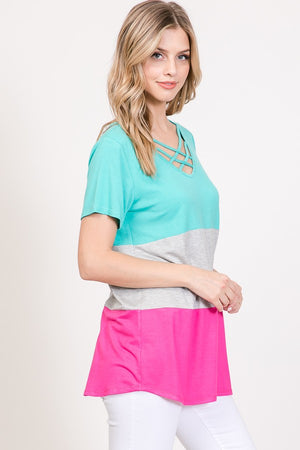 Criss Cross Color Block Top *Final Sale*