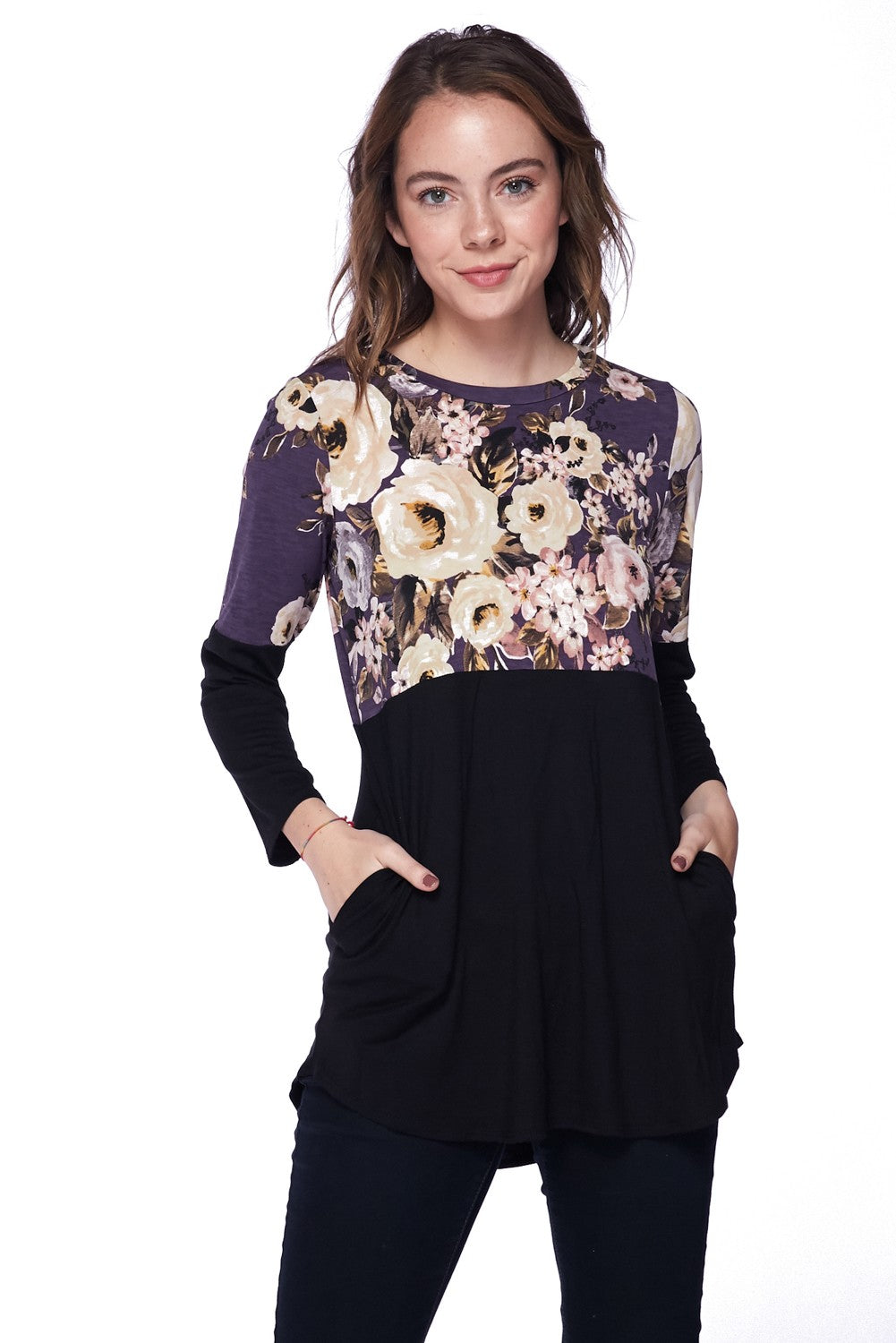 Block Knit Floral Top With Pockets *FINAL SALE*