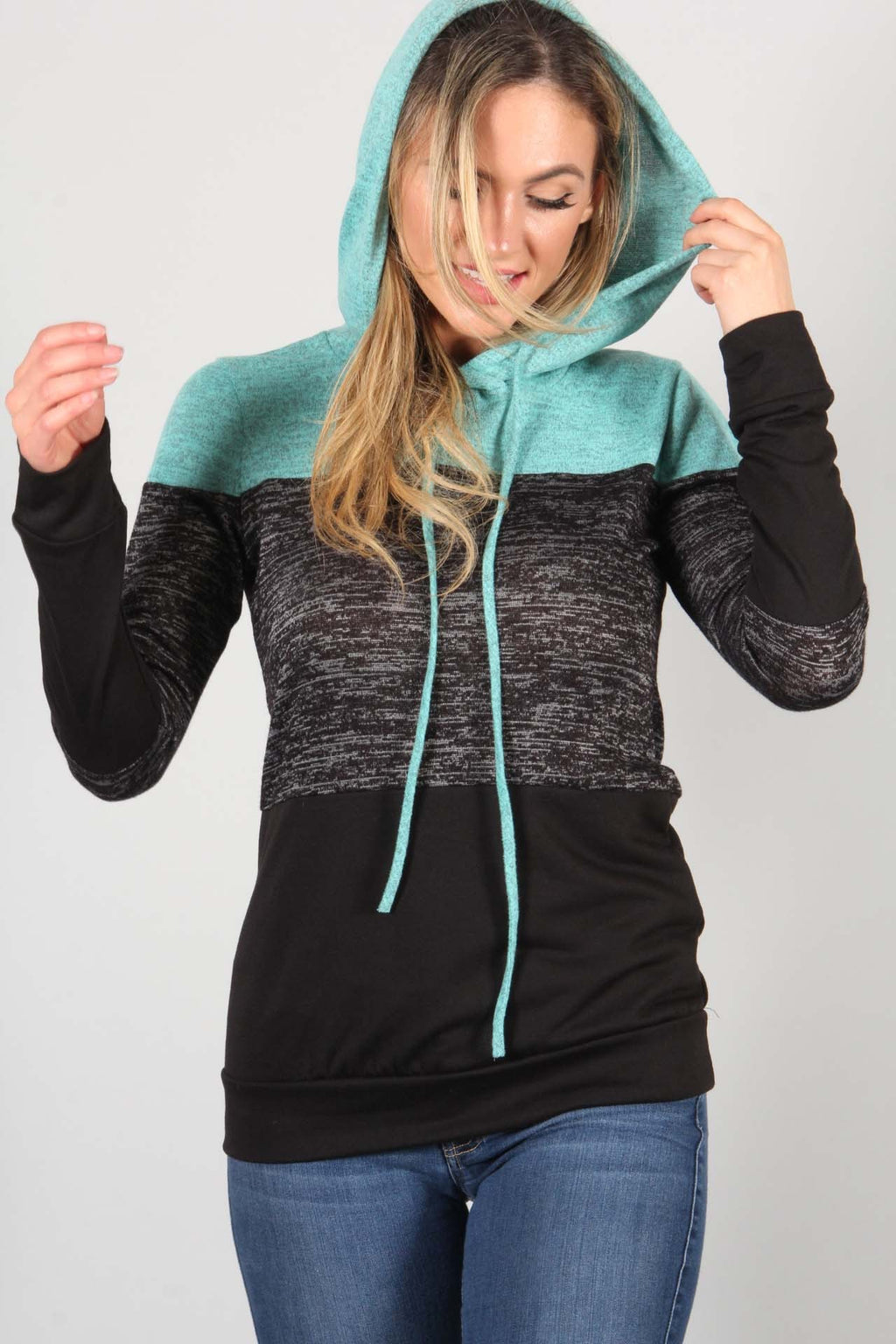 Colorblock hood pullover