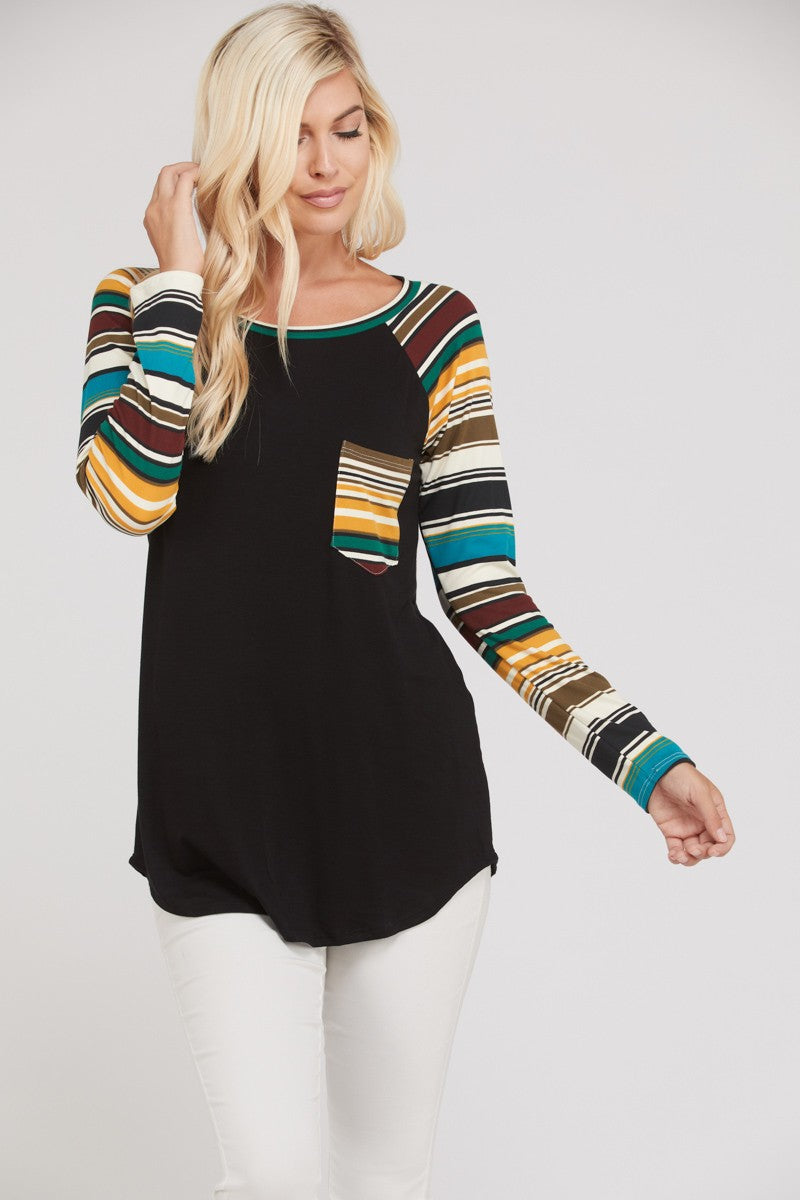 Fabric Mix Jersey Tunic Top