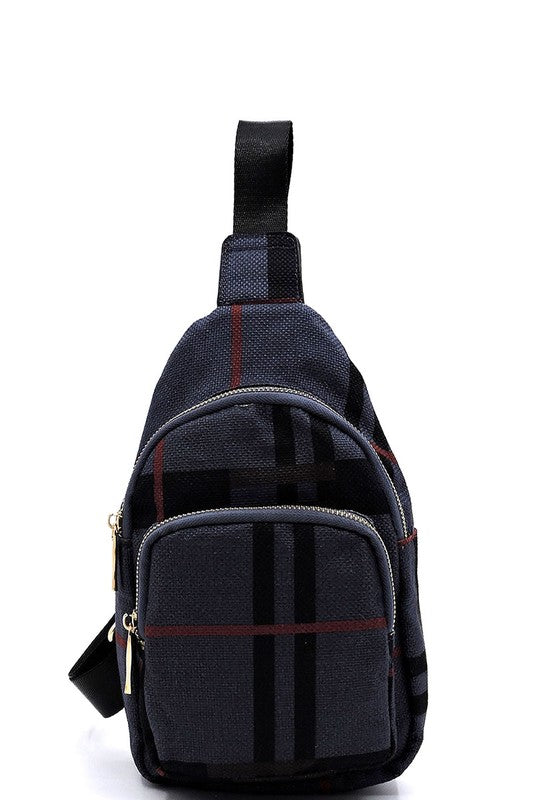 Plaid Check Linen Crossbody Sling Bag