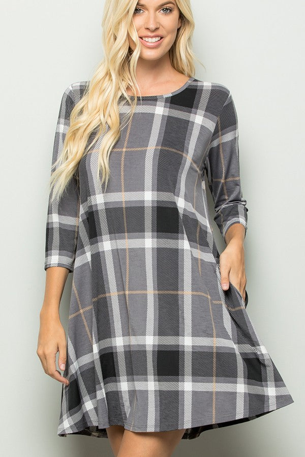 Plaid Print Dress with Side Pocket *FINAL SALE*