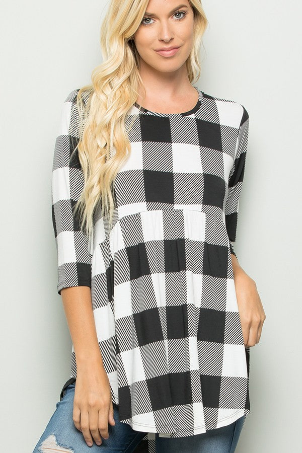 Baby Doll Plaid Top