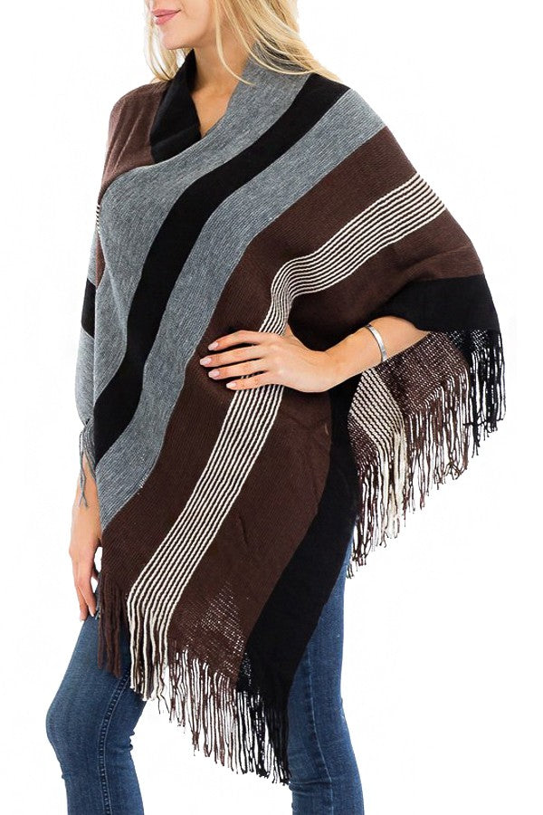 Minimal Stripe Color Block Large Stripe Poncho *FINAL SALE*