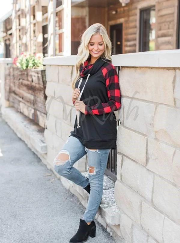 Plaid Cowlneck Pullover