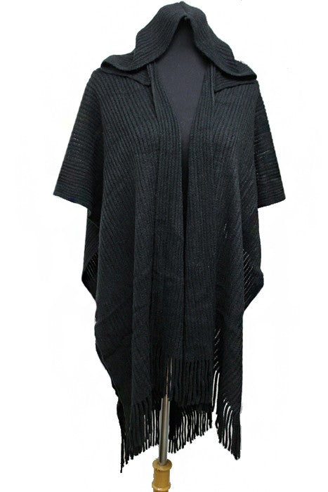 Ribbed And Hooded Draped Styled Softness Poncho
