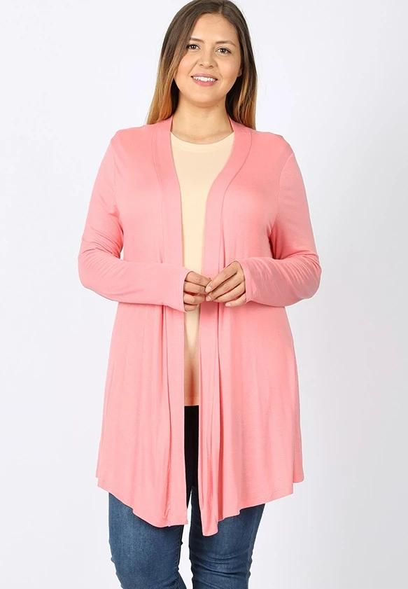 Drapey Open-Front Long Sleeve Cardigan