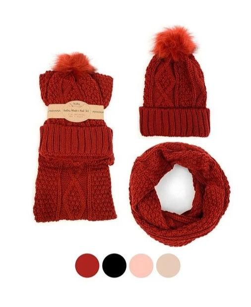 Ladies Knit Hat & Infinity Scarf Winter Set *FINAL SALE*