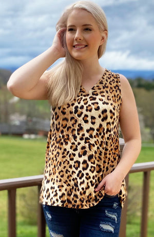 'Sew In Love' ~ Sleeveless Leopard Top