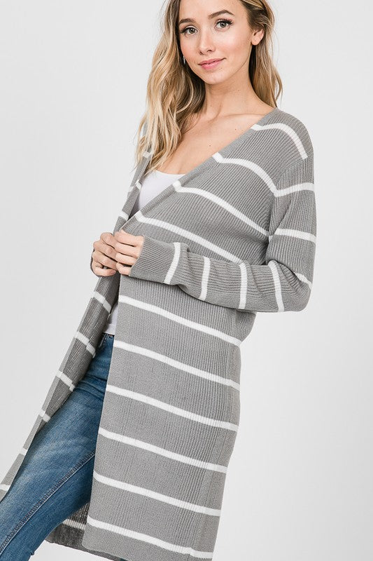 Long Sleeve Stripe Print Open Cardigan *FINAL SALE*