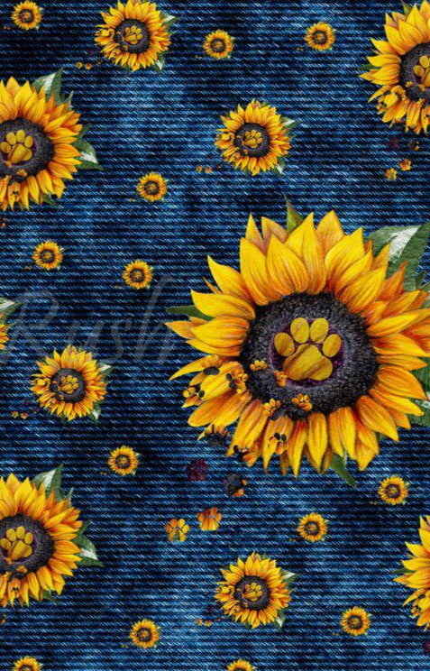 Denim Sunflower / Paw Print Specialy Leggings