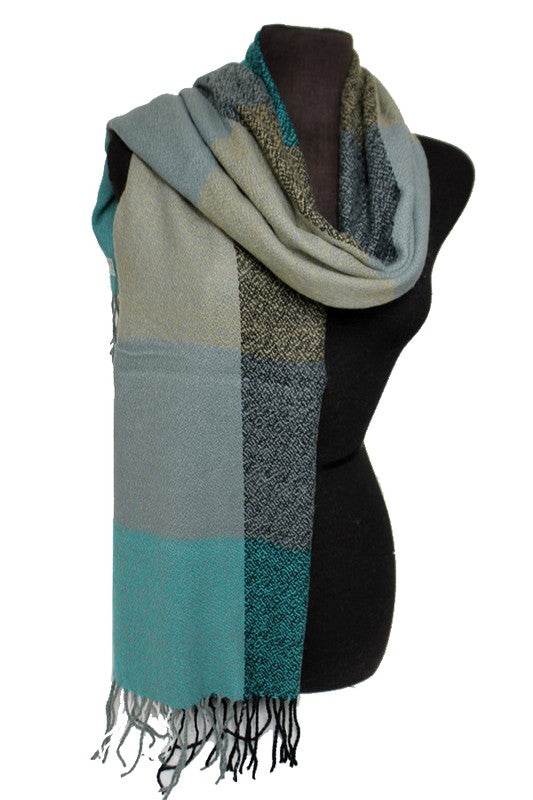 Soft Colorblock Scarf with Fringe