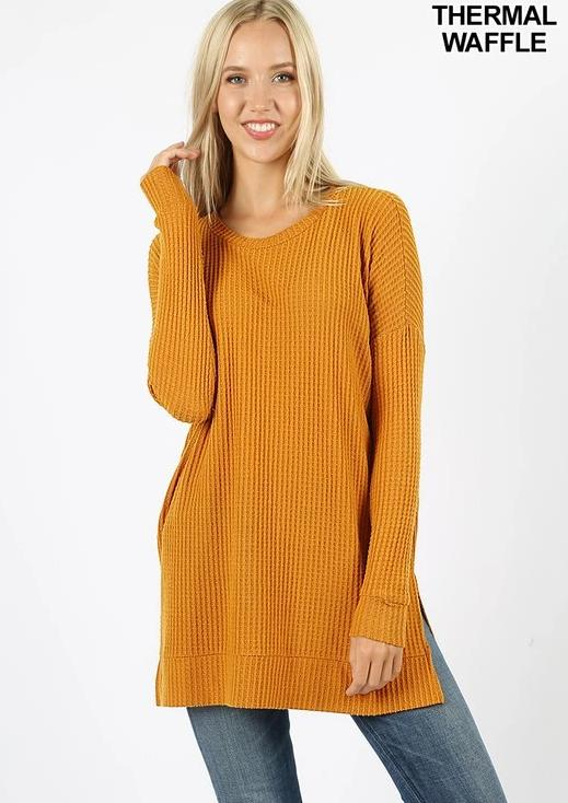 Long Sleeve Round Neck Waffle Sweater *FINAL SALE*