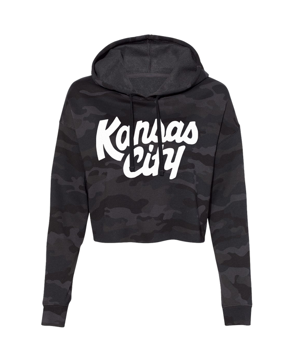 Kansas City Crop Hoodie- Black Camo