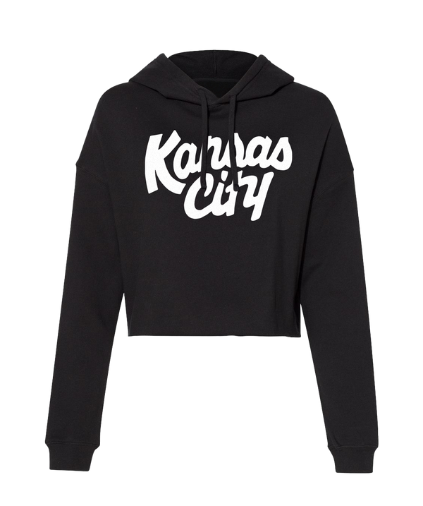 Kansas City Crop Hoodie- Black