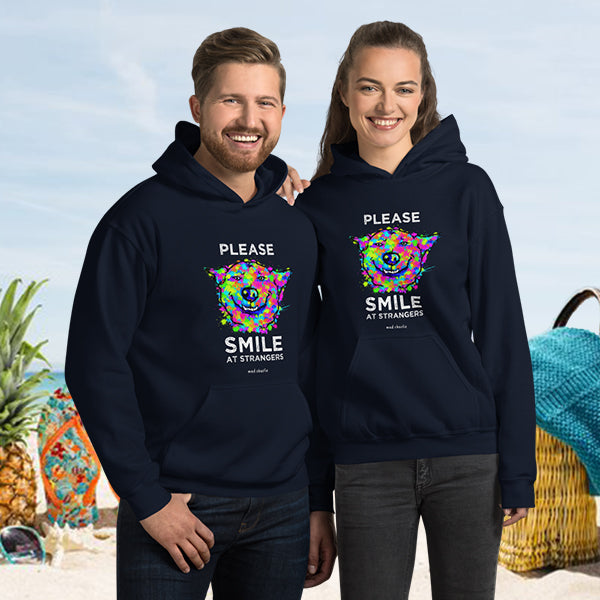 SMILE AT STRANGERS DOG Amazing Mad Charlie's Dark Colors UNISEX Hoody - madcharliestore