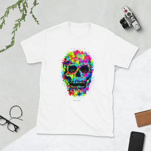 COLOR SKULL II Amazing Mad Charlie's Short-Sleeve White UNISEX T-Shirt - madcharliestore