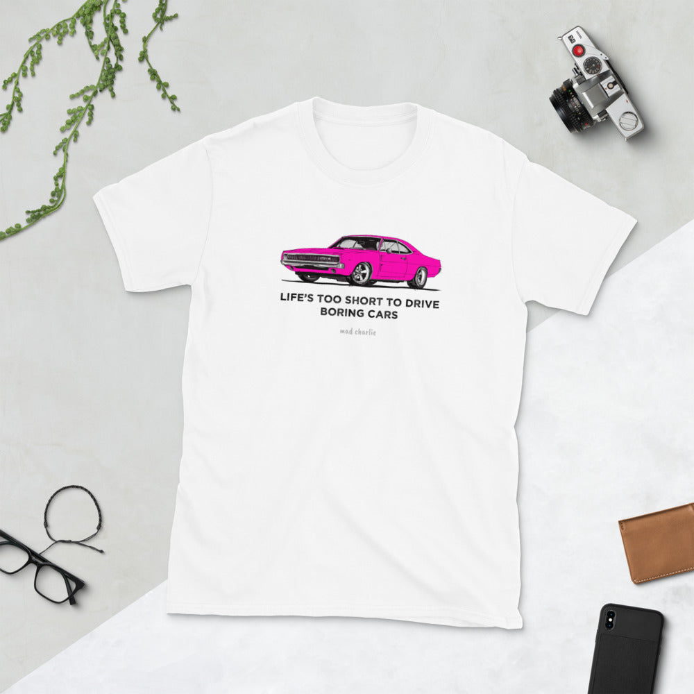 LIFE'S TOO SHORT Amazing Mad Charlie's Short-Sleeve Light Colors Pink Charger UNISEX T-Shirt - madcharliestore